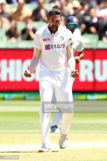 Mohammed Siraj of India celebrates the dismissal of Cameron Green of Australia during day four of the Second Test match between Australia and India...