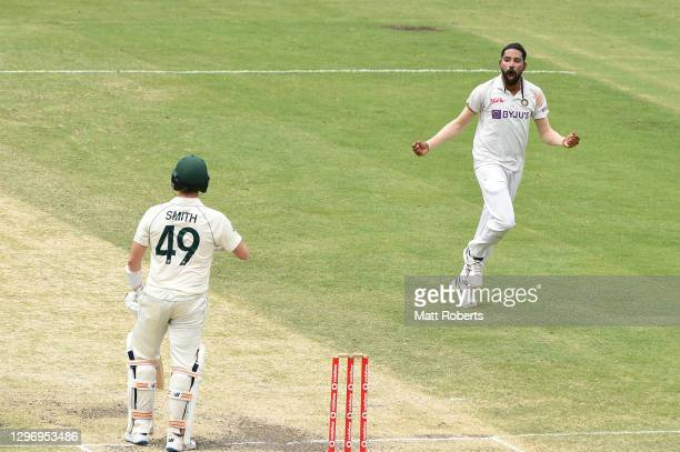 Mohammed Siraj of India celebrates the wicket of Steve Smith of Australia during day four of the 4th Test Match in the series between Australia and...