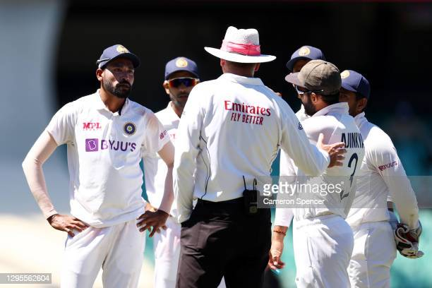 Mohammed Siraj of India stops play to make a formal complaint about some spectators in the bay behind his fielding position during day four of the...
