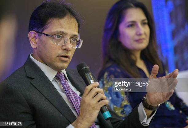 Mohammed Sohail chief executive officer of Topline Securities Pakistan Ltd speaks during the Bloomberg Pakistan Economic Forum in Karachi Pakistan on...