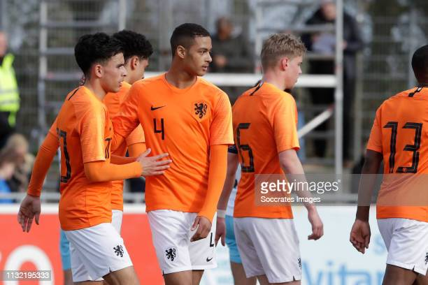 Mohammed Taabouni of Holland U17 Devyne Rensch of Holland U17 Kenneth Taylor of Holland U17 during the match between Holland U17 v Israel U17 at the...