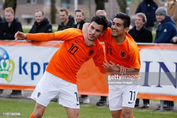 Mohammed Taabouni of Holland U17 Naci Unuvar of Holland U17 during the match between Holland U17 v Israel U17 at the Sportpark Zegersloot on March 23...