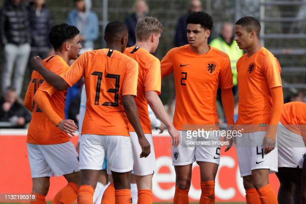 Mohammed Taabouni of Holland U17 Neraysho Kasanwirjo of Holland U17 Ki Jana Hoever of Holland U17 Devyne Rensch of Holland U17 during the match...