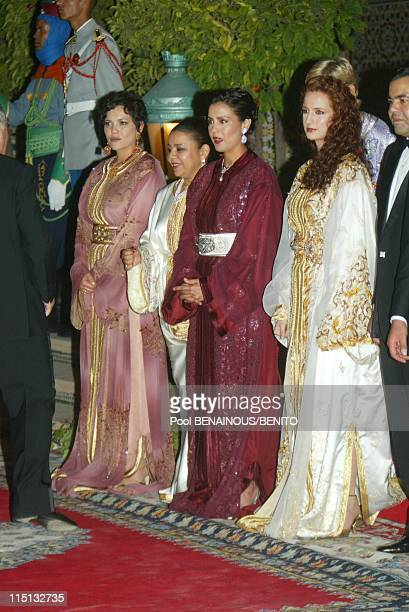 Mohammed VI and his wife Salma at the Marrakech film festival in Morocco on September 19 2002 Princess Salma at right