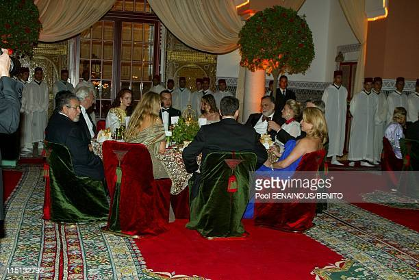 Mohammed VI and his wife Salma at the Marrakech film festival in Morocco on September 19 2002 Dinner at the Royale Palace