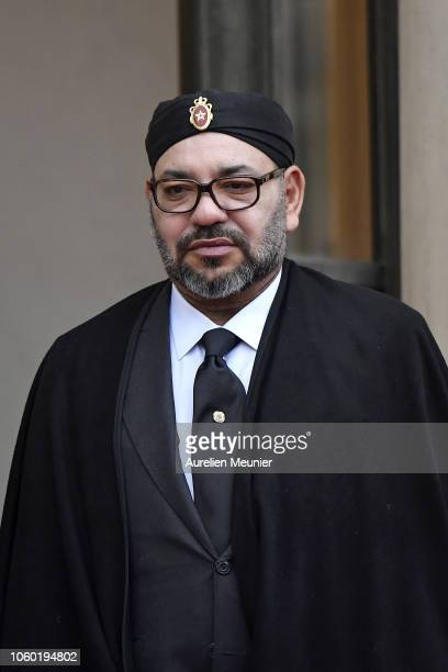 Mohammed VI is the King of Morocco arrives for the commemoration of the 100th anniversary of the end of WWI at Elysee Palace on November 11 2018 in...