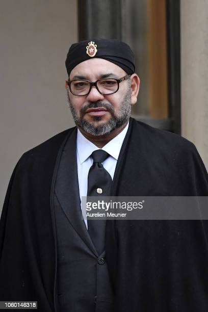 Mohammed VI King of Morocco arrives for the commemoration of the 100th anniversary of the end of WWI at Elysee Palace on November 11 2018 in Paris...