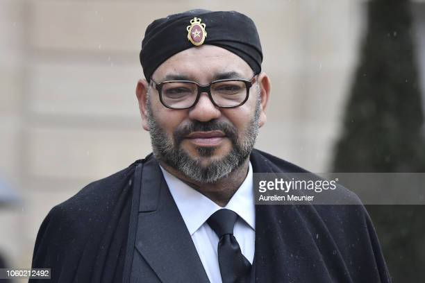 Mohammed VI King of Morocco leaves the Elysee Palace after a lunch hosted by French President Emmanuel Macron for the commemoration of the 100th...