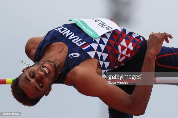 MohammedAli Benhlabib of France competes in Men's High Jump Stage 1 during day 5 of Buenos Aires 2018 Youth Olympic Games at Youth Olympic Park Villa...
