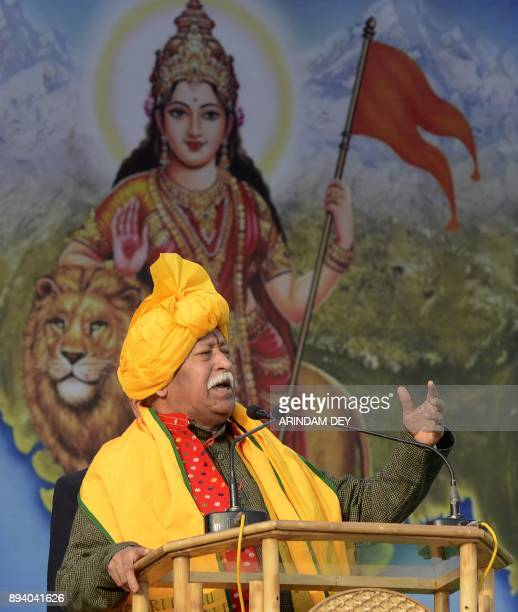 Mohan Bhagwat Chief of the Hindu nationalist organisation Rashtriya Swayamsevak Sangh addresses a Tripura Hindu Malayala rally in Agartala on...