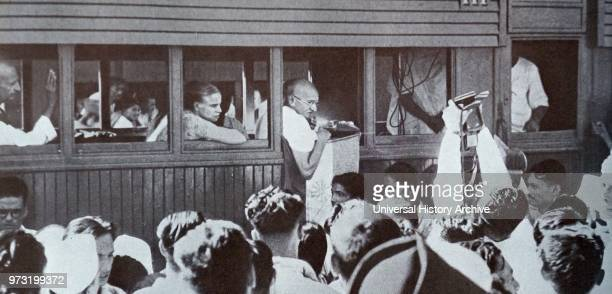 Mohandas Karamchand Gandhi touring India during the partition riots following Independence 1947 Gandhi was the preeminent leader of the Indian...