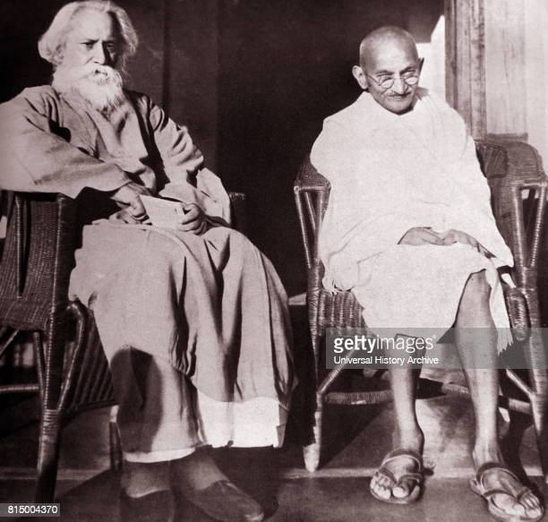 Mohandas Karamchand Gandhi With Rabindranath Tagore at Santiniketan 1940 Gandhi was the preeminent leader of the Indian independence movement in...