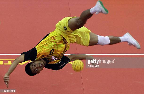 Mohd Fadzli Bin Muhd Roslan of Malaysia returns a shot to India during their men's match on day two of the ISTAF Super Series at ITE Campus on May 4...