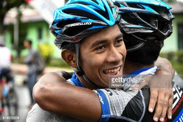 Mohd Shahrul Mat Amin of TSG Terengganu Cycling Team Malaysia celebrates victory during stage 9 of the Tour de Singkarak 2017 PasamanBukittinggi 1172...