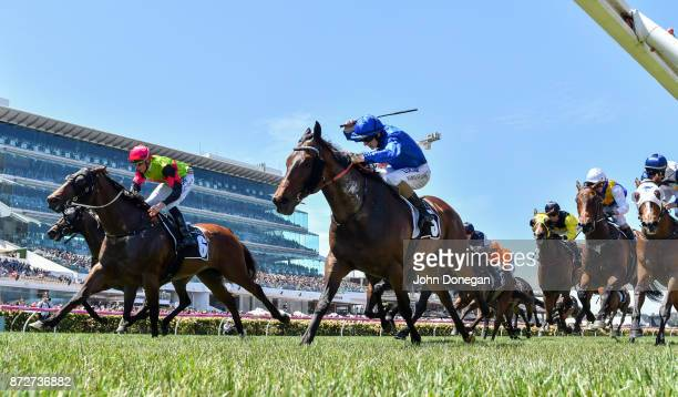 Moher ridden by Damian Lane wins the Sensis Digital Trophy at Flemington Racecourse on November 11 2017 in Flemington Australia