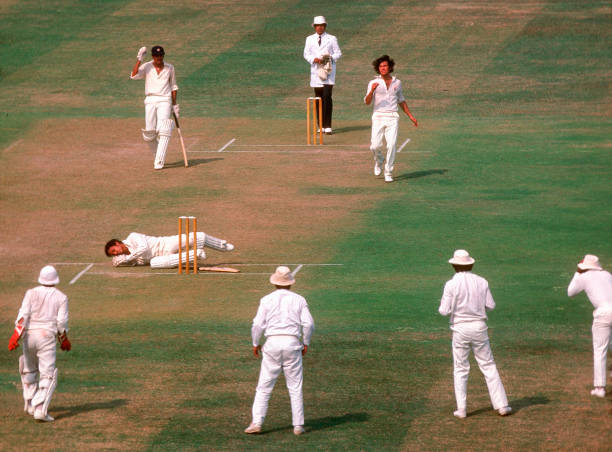 Mohinder Amarnath as felled by a bouncer from Imran Khan Pakistan v India 2nd Test Lahore Oct 197879