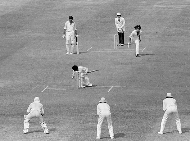 Mohinder Amarnath of India is hit on the head by Imran Khan of Pakistan during the 2nd Test between Pakistan and India at Lahore Pakistan 27th...