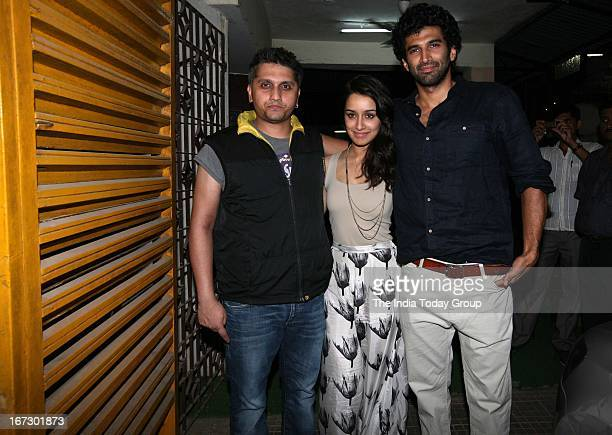 Mohit Suri Shraddha Kapoor and Aditya Roy Kapur at the special screening of 'Aashiqui 2' in Mumbai on 23rd April 2013
