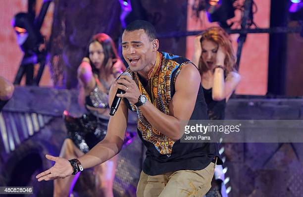 Mohombi performs onstage during Univision's Premios Juventud 2015 rehearsal at Bank United Center on July 15 2015 in Miami Florida