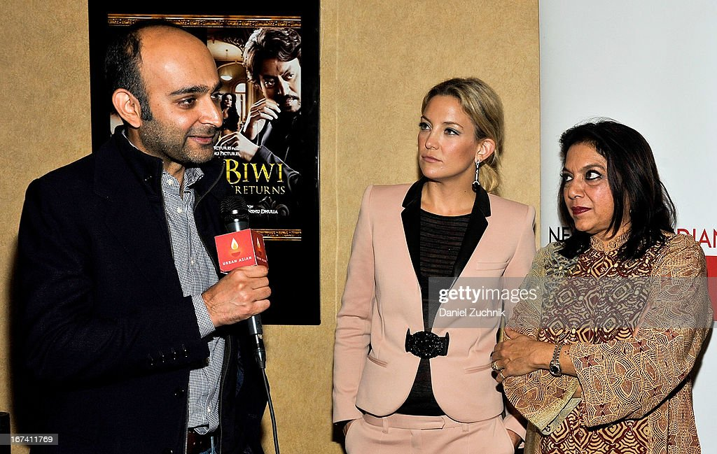 Mohsin Hamid, Kate Hudson and Mira Nair attend the Q&A following 'The Reluctant Fundamentalist' screening during the 2013 New York Indian Film Festival at Big Cinemas Manhattan on April 24, 2013 in New York City.