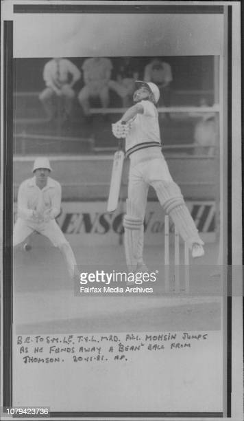 Mohsin jumps as he fends away a 'Bean' ball from Thomson November 30 1981