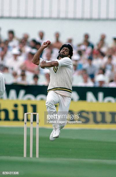 Mohsin Kamal bowling for Pakistan during the 3rd Test match between England and Pakistan at Headingley Leeds 2nd July 1987