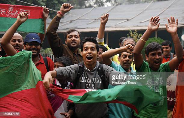 Mohun Bagan club supporters celebrate after AIFF withdraws a twoyear ban on the club on January 15 2013 in Kolkata India The club was banned from the...