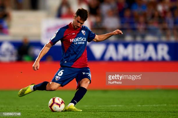 Moi Gomez goes passed during the match between SD Huesca against Rayo Vallecano at Alcoraz Stadium in Huesca Spain on September 14 2018