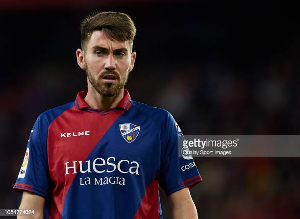 Moi Gomez of Huesca looks on during the La Liga match between Sevilla FC and SD Huesca at Estadio Ramon Sanchez Pizjuan on October 28 2018 in Seville...
