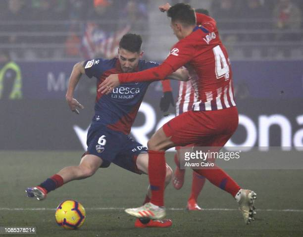 Moi Gomez of SD Huesca during the La Liga match between SD Huesca and Club Atletico de Madrid at El Alcoraz on January 19 2019 in Huesca Spain