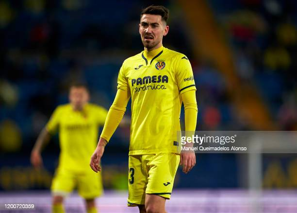 Moi Gomez of Villarreal looks on during the Liga match between Villarreal CF and RCD Espanyol at Estadio de la Ceramica on January 19 2020 in...