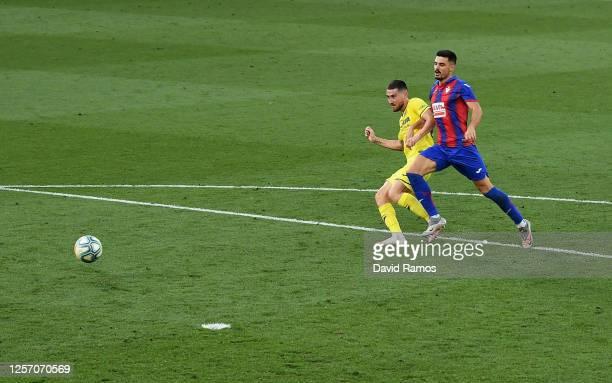 Moi Gomez of Villarreal scores his team's fourth goal during the Liga match between Villarreal CF and SD Eibar SAD at Estadio de la Ceramica on July...