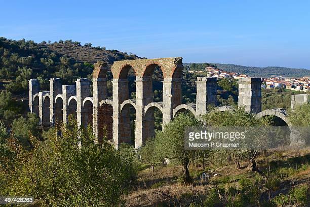 moira aqueduct, mytilene, lesvos (lesbos). - mytilene stock photos and pictures