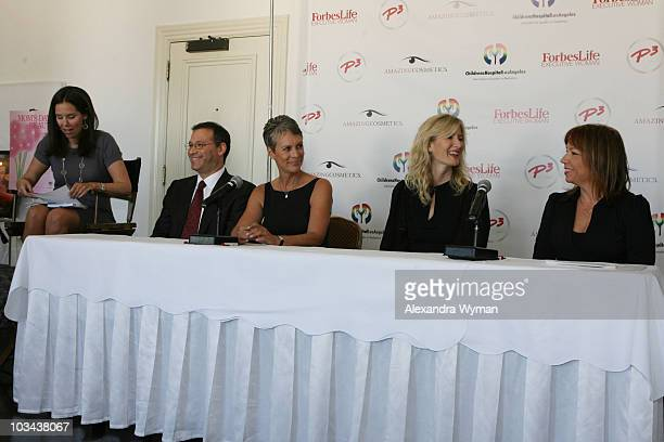 Moira Forbes Dr Krieger Jamie Lee Curtis Laura Dern and Terri Apanasewicz speak at the P3 and Forbeslife executive women's day of beauty for mother's...