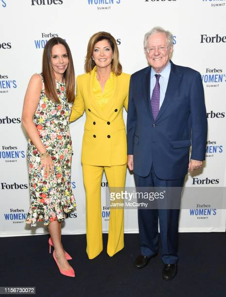 Moira Forbes Norah O'Donnell and Chief Executive of Forbes Media LLC Steve Forbes attend the 2019 Forbes Women's Summit at Pier 60 on June 18 2019 in...