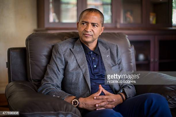 Moise Katumbi Chapwe Governor of Democratic Republic of Congo's Katanga province is pictured during an interview on June 2 2015 in Lubumbashi Before...