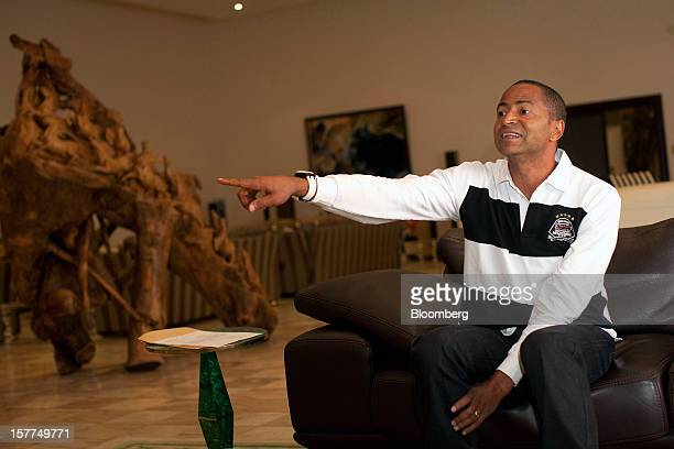 Moise Katumbi Chapwe governor of Katanga province gestures whilst speaking at his residence in Lubumbashi Democratic Republic of Congo on Thursday...
