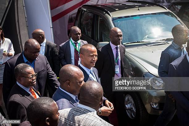 Moise Katumbi Chapwe governor of the Katanga province visits the Katanga Business Meeting expo in Lubumbashi on May 28 2015 AFP PHOTO / FEDERICO...