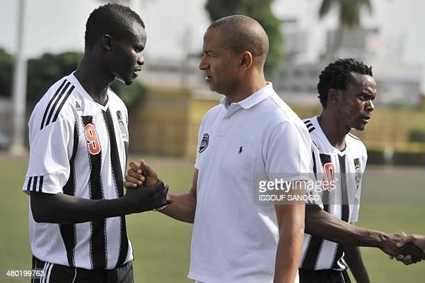 Moise Katumbi the governor of the Katanga region of the Democratic Republic of Congo and president of the TP Mazembe Lubumbashi football club shakes...