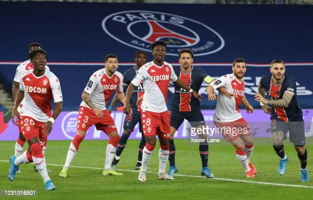 Moise Kean and Marquinhos of Paris Saint Germain react with Guillermo Maripan and Aurelien Tchouameni of AS Monaco during the Ligue 1 soccer match...