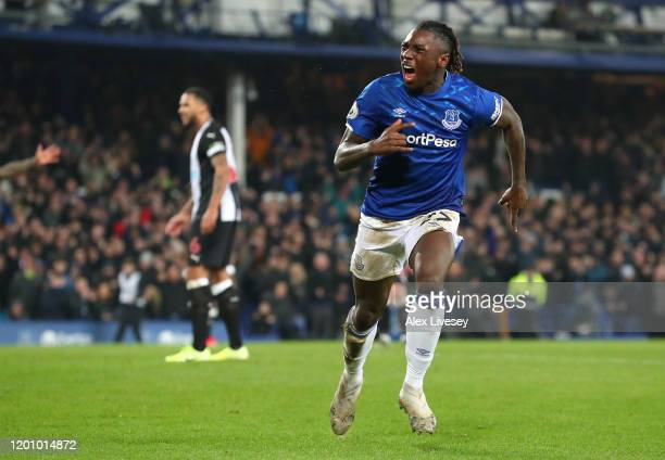Moise Kean of Everton celebrates after scoring his team's first goal during the Premier League match between Everton FC and Newcastle United at...