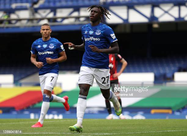 Moise Kean of Everton celebrates after scoring his team's first goal during the Premier League match between Everton FC and AFC Bournemouth at...