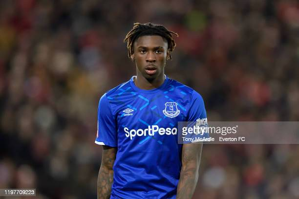 Moise Kean of Everton during the FA Cup Third Round match between Liverpool and Everton at Anfield on January 5 2020 in Liverpool England