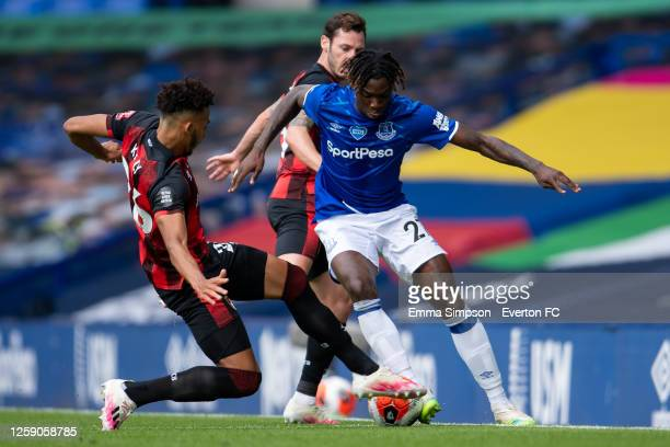 Moise Kean of Everton gets tackled by Lloyd Kelly of Bournemouth during the Premier League match between Everton FC and AFC Bournemouth at Goodison...