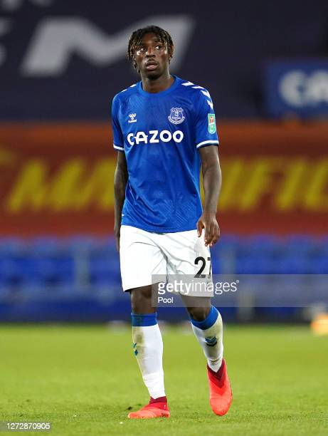 Moise Kean of Everton looks on during the Carabao Cup Second Round match between Everton FC and Salford City at Goodison Park on September 16, 2020...