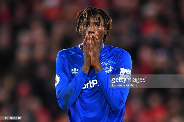 Moise Kean of Everton reacts after a missed shot during the Premier League match between Liverpool FC and Everton FC at Anfield on December 04, 2019...