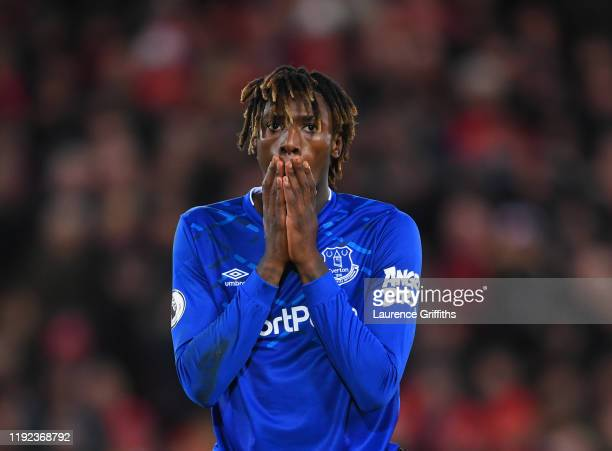 Moise Kean of Everton reacts after a missed shot during the Premier League match between Liverpool FC and Everton FC at Anfield on December 04 2019...