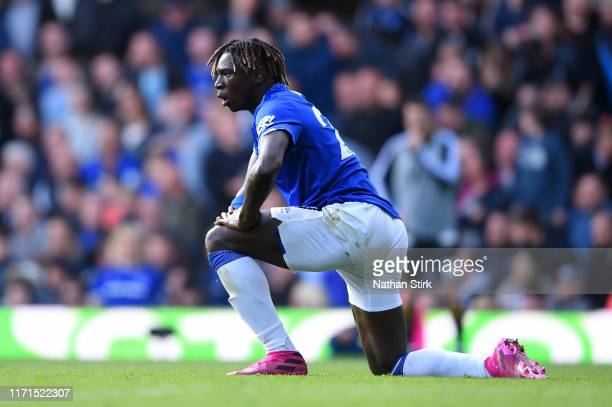 Moise Kean of Everton reacts during the Premier League match between Everton FC and Wolverhampton Wanderers at Goodison Park on September 01 2019 in...
