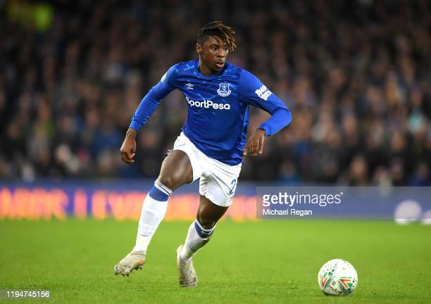 Moise Kean of Everton runs with the ball during the Carabao Cup Quarter Final match between Everton FC and Leicester FC at Goodison Park on December...