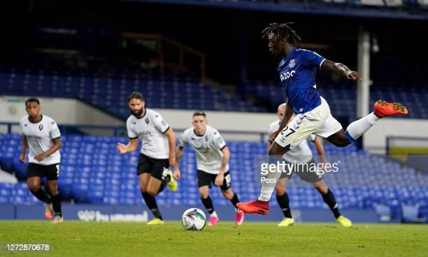 Moise Kean of Everton scores a penalty for his team's third goal during the Carabao Cup Second Round match between Everton FC and Salford City at...